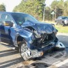 Pickup trucks crash at intersection