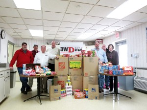 "Radio station 3WD and Mecklenburg Electric Cooperative (MEC) partnered in the ""Hearts to Heroes"" campaign to send Valentine posters and cards, snacks, hygiene items and other supplies to soldiers in Alpha Company 3rd Platoon stationed in Kuwait.  Greg Thrift, manager of 3WD, (pictured third from left) and John Lee, president and CEO of Mecklenburg Electric Cooperative, (pictured third from right) wish to thank everyone in the community who contributed.  MEC employees pictured with Thrift and Lee are (from left) Brian Morris, Clint Card, David Lipscomb, Cecil Robbins and Carolyn Glass."