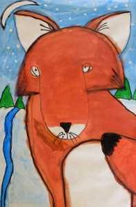 Baileigh Meinhard, a third grader at Cumberland Elementary School, is one of hundreds of young artists in the region whose work (Winter Fox) will be displayed at the Longwood Center for the Visual Arts in downtown Farmville.  The Annual Area Youth Art Exhibition opened with a free, public reception on Sunday, March 16 from 2 – 4 p.m. Meinhard's art teacher is Emily Overstreet.